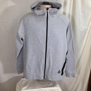 Reebok Zip Front Hooded Sweatshirt M Gray